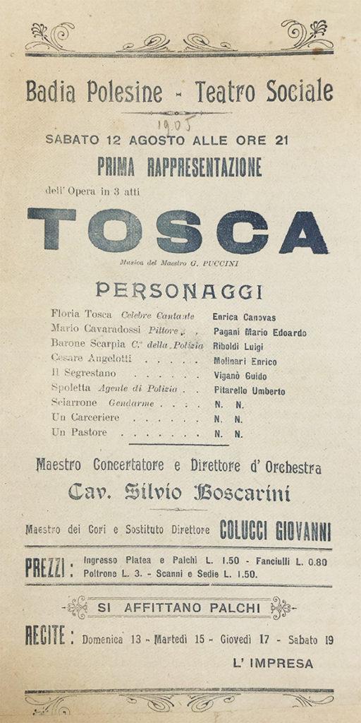 Locandina della Tosca 1905 Teatro Sociale.